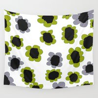 avocado Wall Tapestries featuring Daisies - Avocado and Slate by lisa weedn