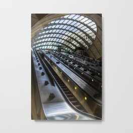 Canary Wharf Tube Escalator Metal Print