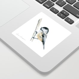 """""""Chicka-dee-dee-dee"""" a painting of a Chickadee by Teresa Thompson Sticker"""