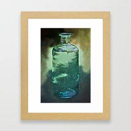 vintage green glass bottle Framed Art Print