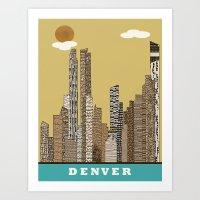 denver Art Prints featuring Denver by bri.buckley