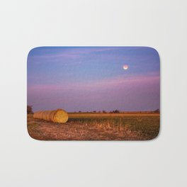 Hay Bales Under the Super Blue Blood Moon in Oklahoma Bath Mat