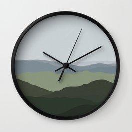 Green Mountainscape Wall Clock