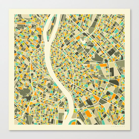 BUDAPEST MAP Canvas Print