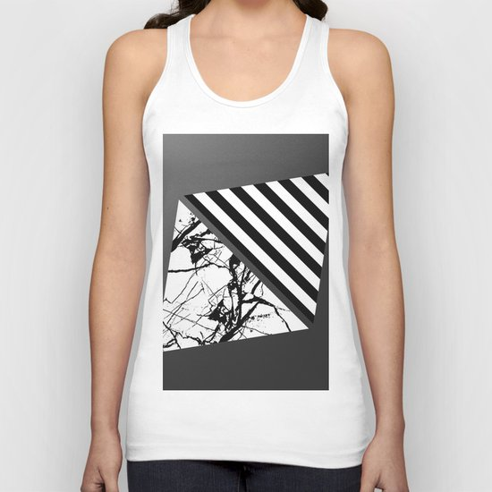 Stripes N Marble 3 - Abstract Black and white stripes and marble textured triangles on metallic Unisex Tank Top