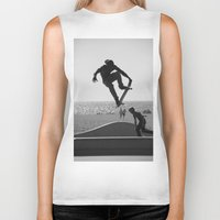 skateboard Biker Tanks featuring Skateboard Freedom by Scotty Photography