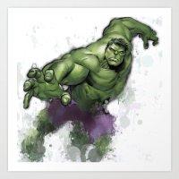 hulk Art Prints featuring Hulk  by Isaak_Rodriguez