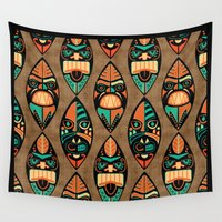 tiki Wall Tapestries featuring MCM Tiki Lounger by Lisa Jayne Murray - Illustration