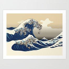 The great wave of english bulldog Vanilla Sky Art Print