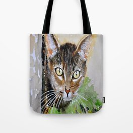 The Curious Tabby Cat Tote Bag