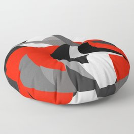 black white grey red geometric digital art Floor Pillow