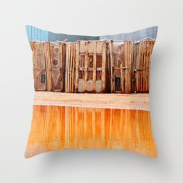 Lobster Traps and Red Sand Throw Pillow