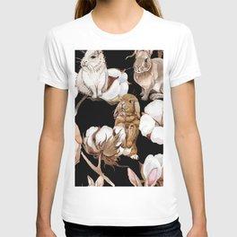 Cotton Flower & Rabbit Pattern on Black 01 T-shirt