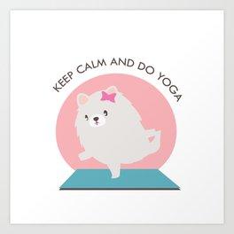 Kawaii Yoga Dog Pose Art Print