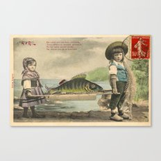 The April Fish - Vintage / Antique French Post Card - Piosson D'Avril - April Fools Day Canvas Print
