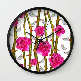 WHITE BUTTERFLIES & PINK ROSE THORN CANES WHITE ART Wall Clock