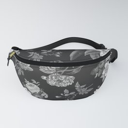 Vintage flowers on black Fanny Pack
