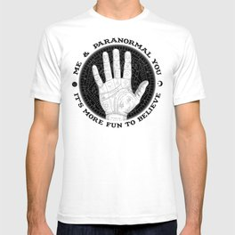 Me & Paranormal You - James Roper Design - Palmistry B&W (black lettering) T-shirt