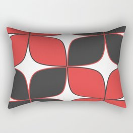 Mid-Century Modern Art - Flower Pattern Black Red Rectangular Pillow