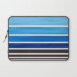 Prussian Blue Minimalist Watercolor Mid Century Staggered Stripes Rothko Color Block Geometric Art Laptop Sleeve