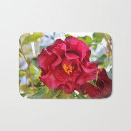 Red Wine Camellia Bath Mat