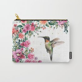 Hummingbird and Flowers Watercolor Animals Carry-All Pouch