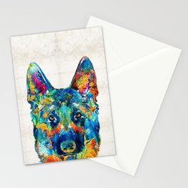 Colorful German Shepherd Dog Art By Sharon Cummings Stationery Cards