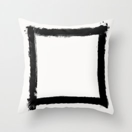 Square Strokes Black on White Throw Pillow