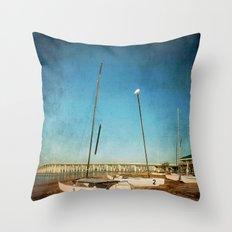 Sail Boats on the Beach Throw Pillow