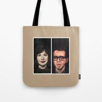 portlandia Tote Bags featuring Portlandia Celebrated in Black Velvet by Gil Corral