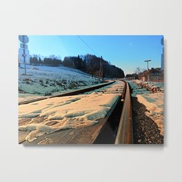 Railroads in winter wonderland | landscape photography Metal Print