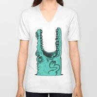 crocodile V-neck T-shirts featuring Crocodile! by andres lozano