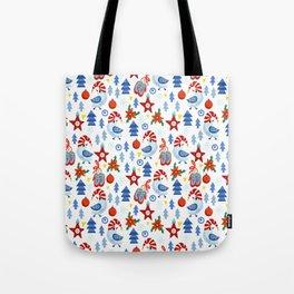 Modern red blue white christmas trees birds stars pattern Tote Bag