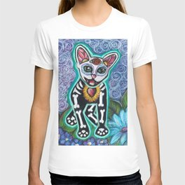 Turquoise Day of the Dead Cat T-shirt