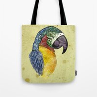 parrot Tote Bags featuring Parrot by SilviaGancheva