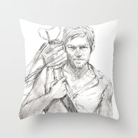 daryl Throw Pillows featuring Daryl by Eric Dockery