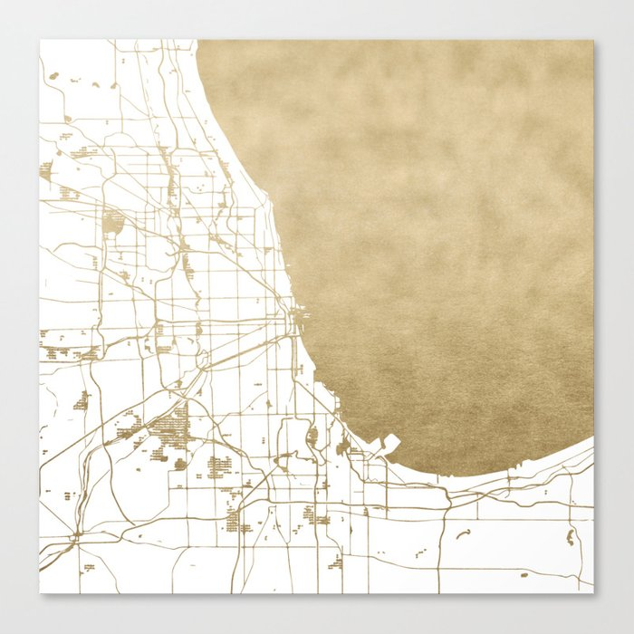Chicago Map Canvas.Chicago Gold And White Map Canvas Print By Mapmaker Society6