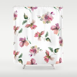 Watercolor roses. Delicate pink flowers. Shower Curtain