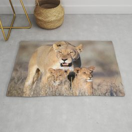 Majestic Gracious Female African Lion Mother With Two Cubs In High Grass Close Up Ultra HD Rug