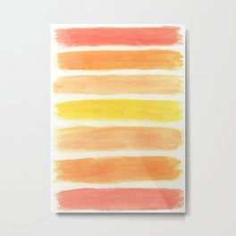 Orange Striped Abstract Metal Print