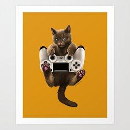 Gamer cat Playstation 4 Art Print