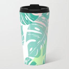 Linocut Monstera Tricolori Travel Mug