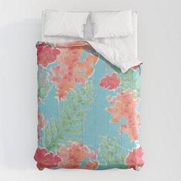 Tropical Hibiscus Watercolor in Aqua Sea Comforters