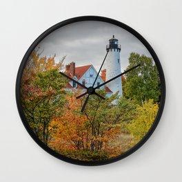 PORT IROQUOIS LIGHTHOUSE AUTUMN PHOTO - MICHIGAN UPPER PENINSULA FALL IMAGE - LANDSCAPE PHOTOGRAPHY Wall Clock