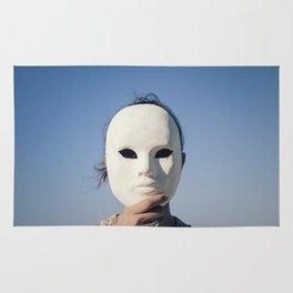 Mask enigmatic girl blue sky Rug