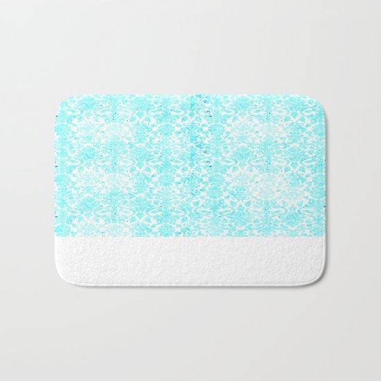Aqua Blue Damask Bath Mat