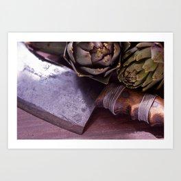 Vintage photograph of butchers knife and artichoke still life Art Print