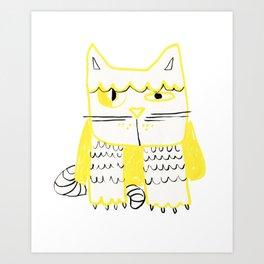 Yellow Black Cat Doodle Art Print