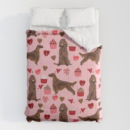 Irish Setter valentines day dog breed cupcakes love hearts setters gifts Comforters