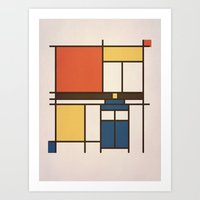 mondrian Art Prints featuring Mondrian Who by Perdita